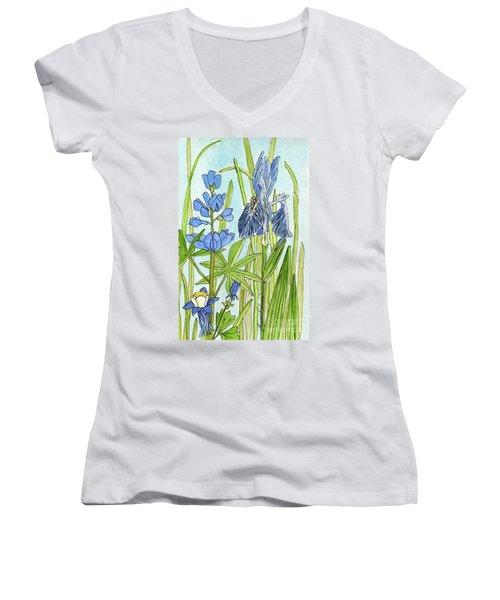 A Blue Garden Women's V-Neck T-Shirt (Junior Cut) by Laurie Rohner