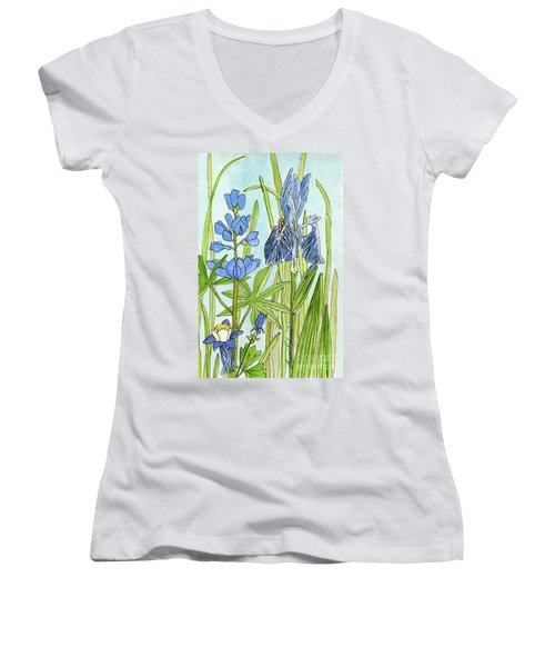 A Blue Garden Women's V-Neck T-Shirt