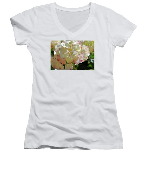 Women's V-Neck T-Shirt (Junior Cut) featuring the photograph A Blush Of Pink by Cricket Hackmann