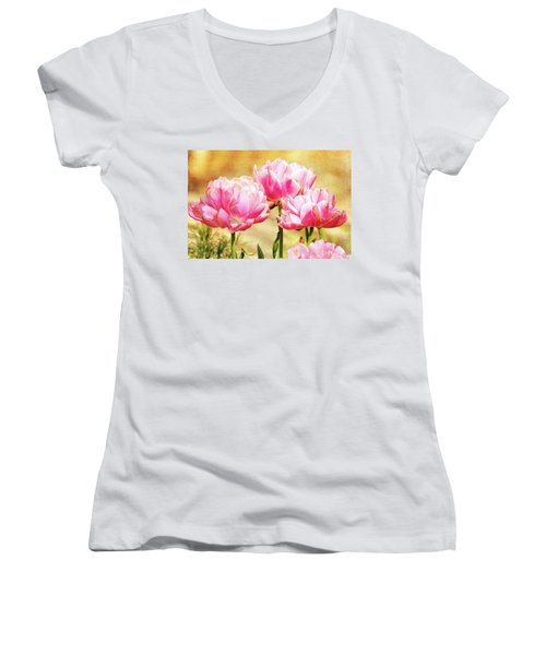 A Bouquet Of Tulips Women's V-Neck (Athletic Fit)
