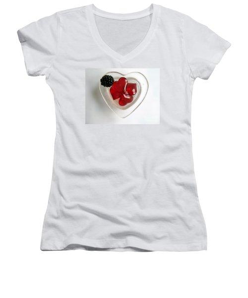 Women's V-Neck T-Shirt (Junior Cut) featuring the photograph A Bowl Of Hearts And A Blackberry by Ausra Huntington nee Paulauskaite