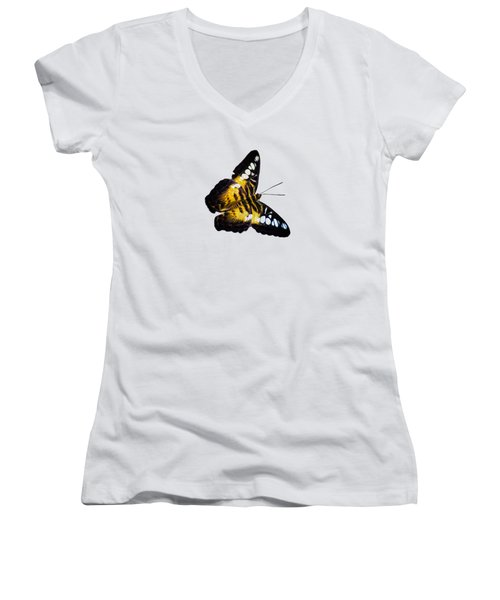 Women's V-Neck T-Shirt (Junior Cut) featuring the photograph A Butterfly In The Forest by Mark Andrew Thomas