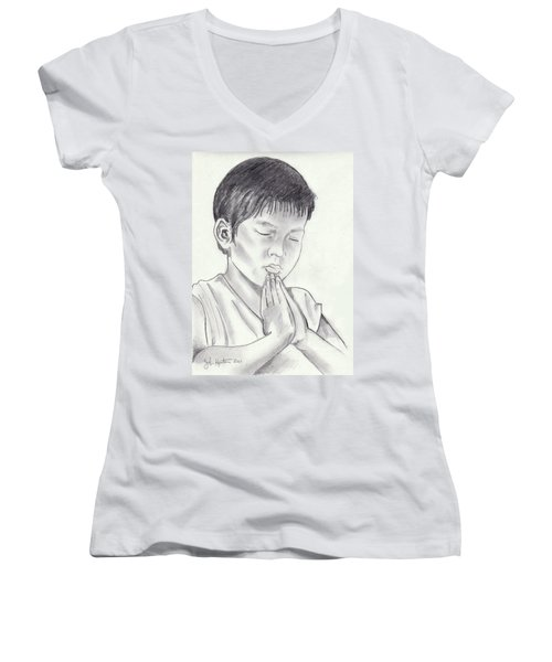 A Child's Prayer Women's V-Neck T-Shirt (Junior Cut) by John Keaton