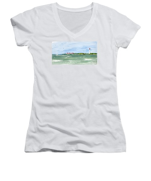 A Clear Day At Cape May Point  Women's V-Neck (Athletic Fit)