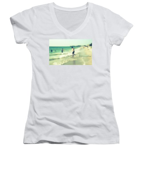 Women's V-Neck T-Shirt (Junior Cut) featuring the photograph a day at the beach III by Hannes Cmarits