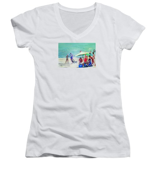 A Day At The Beach Women's V-Neck T-Shirt (Junior Cut)