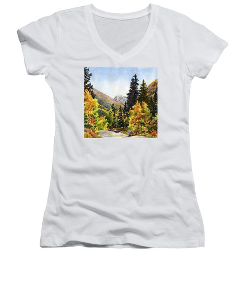 A Drive In The Mountains Women's V-Neck T-Shirt (Junior Cut) by Anne Gifford