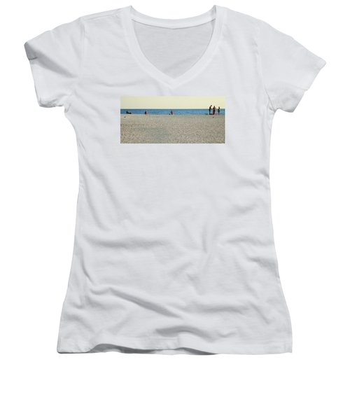Women's V-Neck T-Shirt (Junior Cut) featuring the photograph A Fine Day At The Beach by Ginny Schmidt