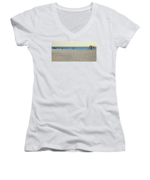A Fine Day At The Beach Women's V-Neck T-Shirt (Junior Cut) by Ginny Schmidt