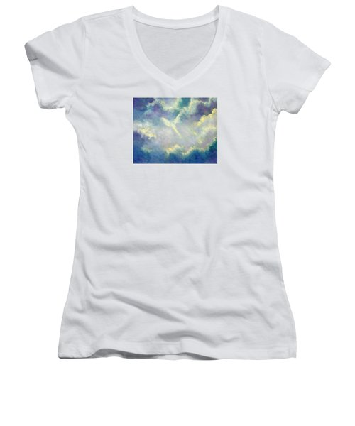 A Gift From Heaven Women's V-Neck T-Shirt (Junior Cut) by Marina Petro
