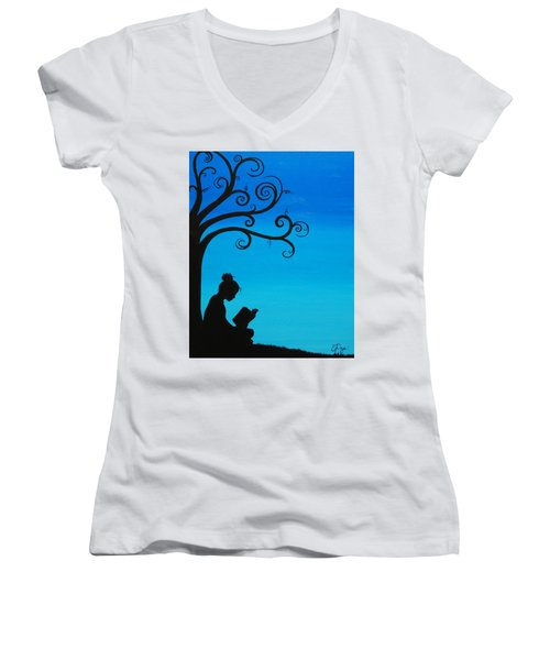 A Girl And Her Book Women's V-Neck