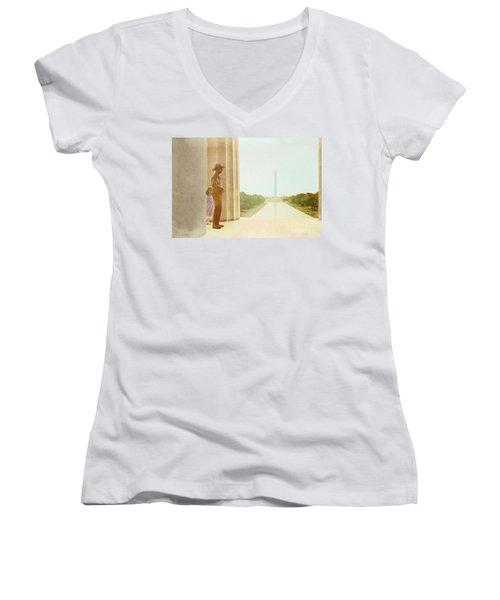 A Girl Suddenly Appears Women's V-Neck T-Shirt