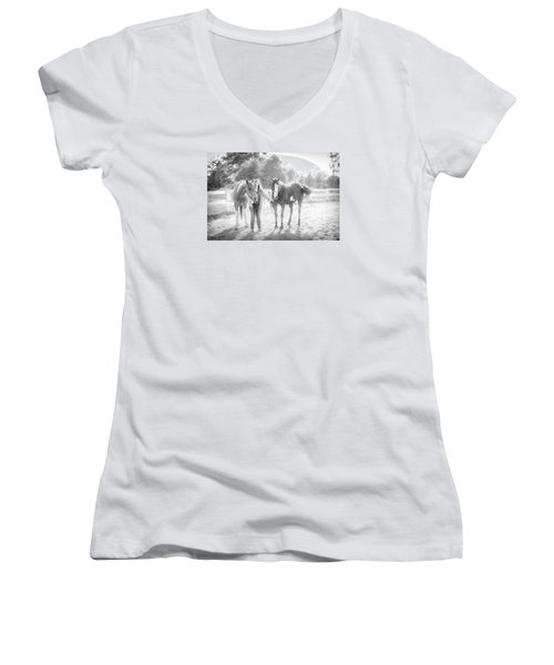 A Girl With Horses Women's V-Neck T-Shirt (Junior Cut) by Kelly Hazel