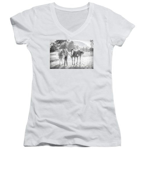 A Girl With Horses Women's V-Neck