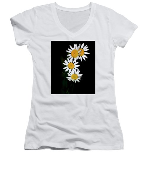 Women's V-Neck T-Shirt (Junior Cut) featuring the digital art A Group Of Wild Daisies by Chris Flees