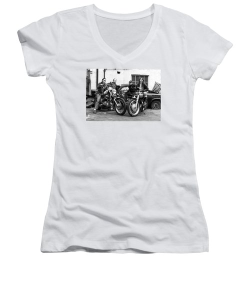 A Group Of Women Associated With The Hells Angels, 1973. Women's V-Neck
