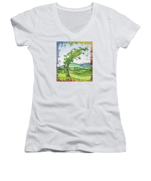 A Kale Leaf Visits The Country Women's V-Neck T-Shirt (Junior Cut) by Carolyn Doe
