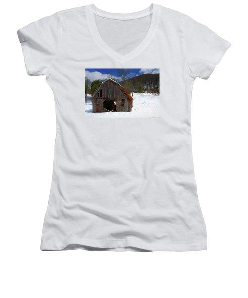 A Little Rust Women's V-Neck T-Shirt (Junior Cut) by Dale R Carlson