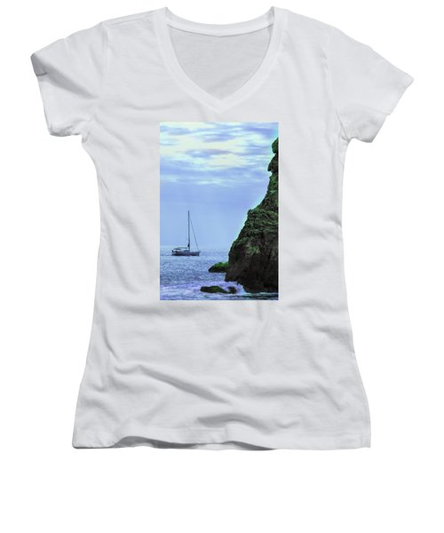 A Lone Sailboat Floats On A Calm Sea Women's V-Neck T-Shirt
