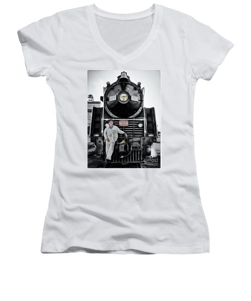 A Man And His Locomotive Women's V-Neck