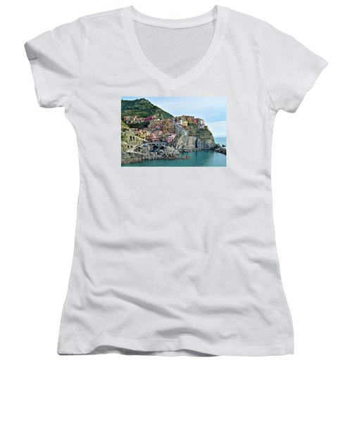 Women's V-Neck T-Shirt (Junior Cut) featuring the photograph A Manarola Morning by Frozen in Time Fine Art Photography