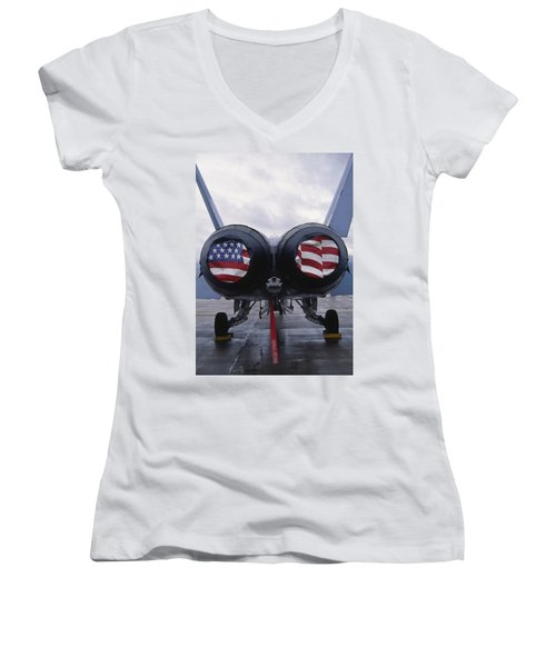 A Mcdonnell Douglas F/a-18 Hornet Twin-engine Supersonic Fighter Aircraft Women's V-Neck (Athletic Fit)