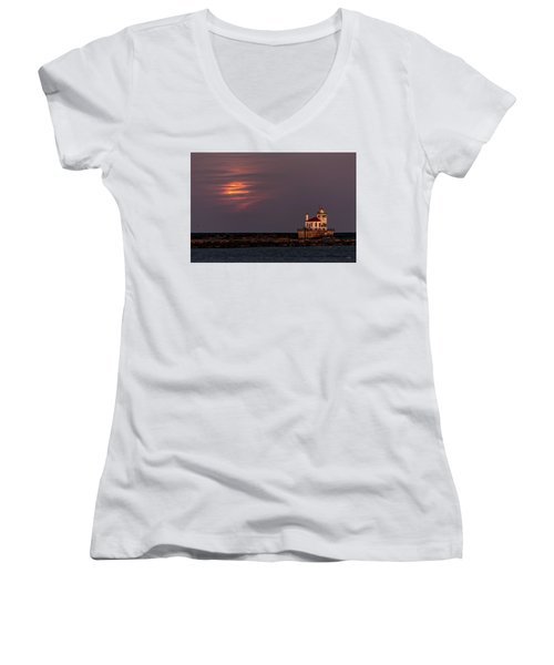 Women's V-Neck T-Shirt (Junior Cut) featuring the photograph A Moonsetting Sunrise by Everet Regal