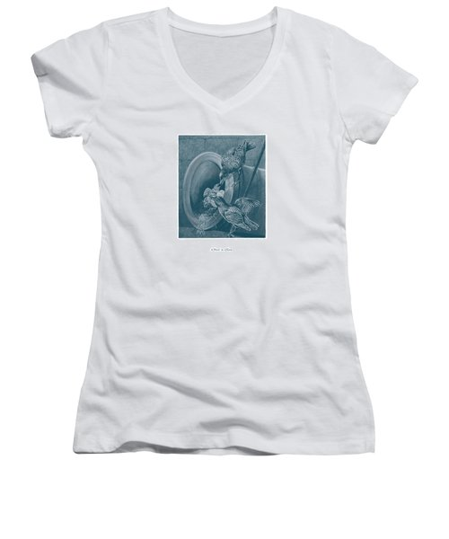Women's V-Neck T-Shirt (Junior Cut) featuring the drawing A Nest In A Gun by David Davies
