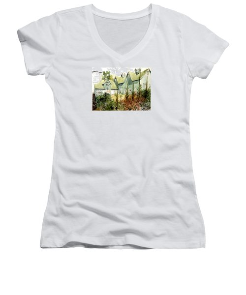 An Old Wooden Barn Painted Green With Silo In The Sun Women's V-Neck T-Shirt (Junior Cut) by Greta Corens
