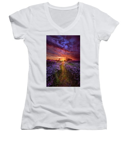 A Peaceful Proposition Women's V-Neck T-Shirt (Junior Cut) by Phil Koch
