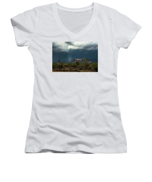 Women's V-Neck T-Shirt featuring the photograph A Rainy Evening In The Superstitions  by Saija Lehtonen