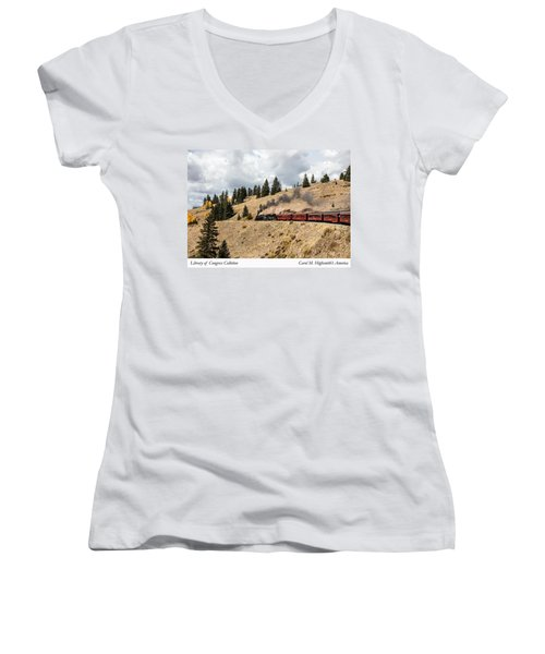 Women's V-Neck T-Shirt (Junior Cut) featuring the photograph A Scenic Railroad Steam Train, Near Antonito In Conejos County In Colorado by Carol M Highsmith