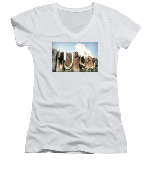 It's A Shore Thing Women's V-Neck T-Shirt (Junior Cut) by Diana Angstadt