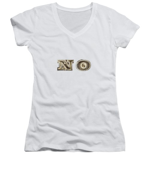 A Simple No Women's V-Neck T-Shirt (Junior Cut) by YoPedro