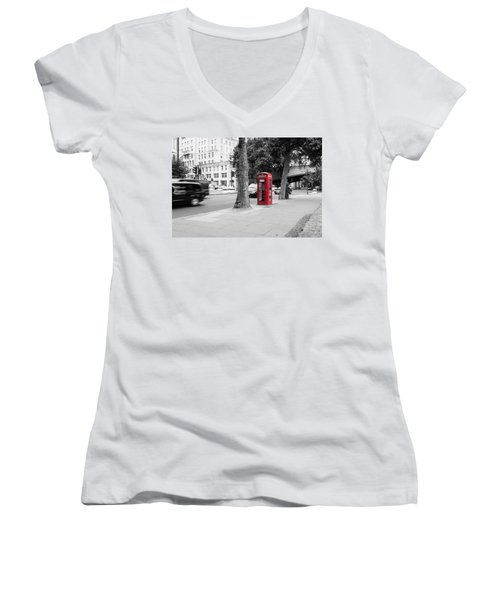 A Single Red Telephone Box On The Street Bw Women's V-Neck
