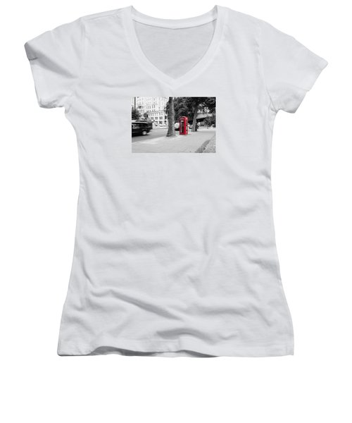 A Single Red Telephone Box On The Street Bw Women's V-Neck (Athletic Fit)