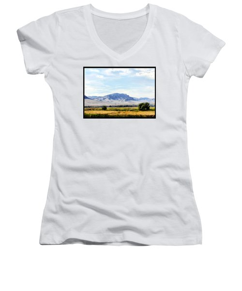 Women's V-Neck T-Shirt (Junior Cut) featuring the painting A Sleeping Giant by Susan Kinney