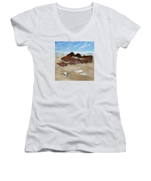 A Slow Death In Piano Valley Sq Women's V-Neck T-Shirt (Junior Cut) by Mike McGlothlen