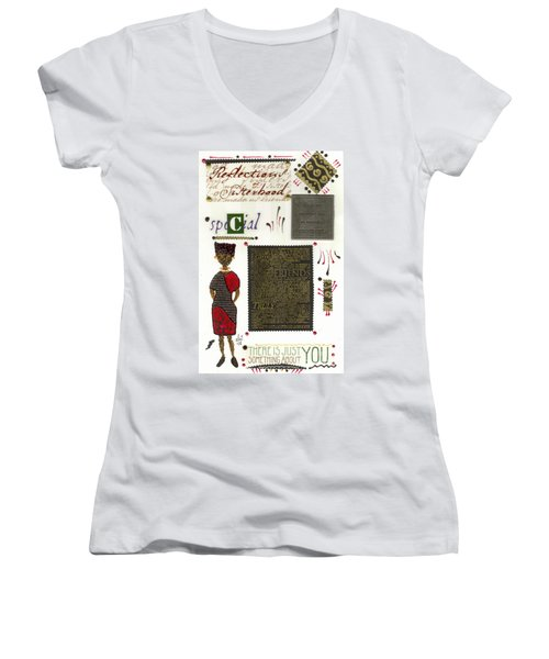 Women's V-Neck T-Shirt (Junior Cut) featuring the mixed media A Special Friend by Angela L Walker
