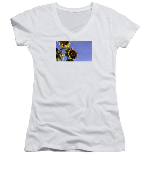 Women's V-Neck T-Shirt (Junior Cut) featuring the photograph A Summer's Day by Lora Lee Chapman