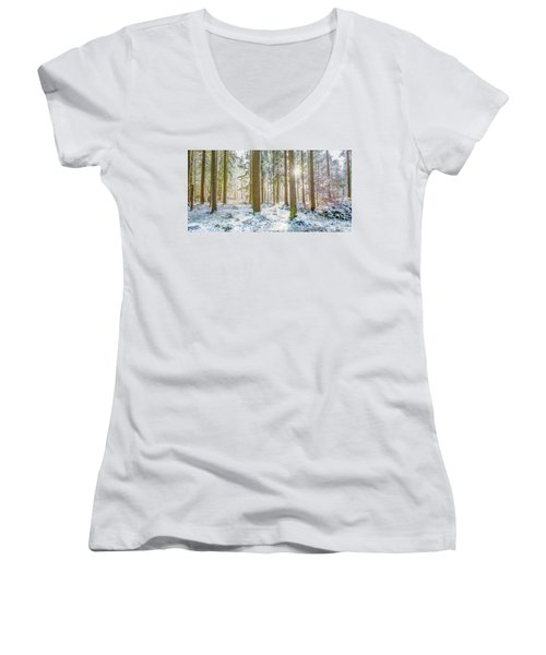 Women's V-Neck T-Shirt (Junior Cut) featuring the photograph A Sunny Day In The Winter Forest by Hannes Cmarits