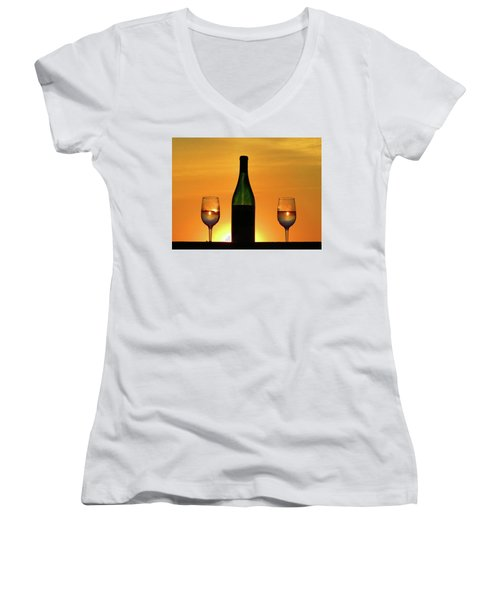 A Sunset In Each Glass Women's V-Neck (Athletic Fit)