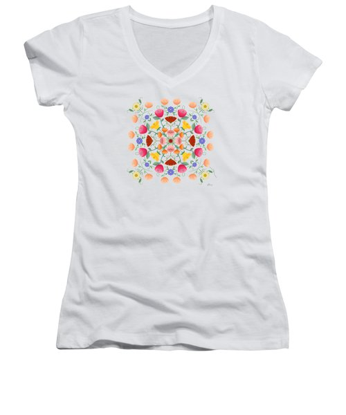 A Symphony Of Dancing Floral Delights Women's V-Neck