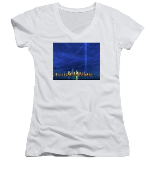 Women's V-Neck T-Shirt (Junior Cut) featuring the photograph A Tribute At Dusk by Chris Lord