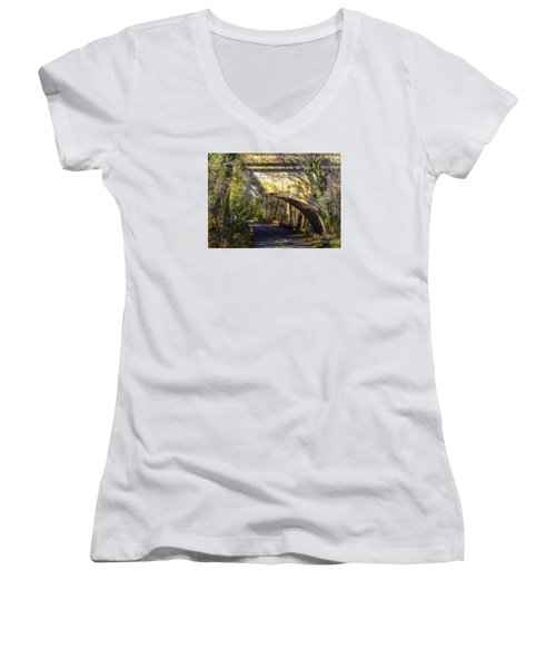 Women's V-Neck T-Shirt (Junior Cut) featuring the photograph A Tunnel By The River by Melissa Messick