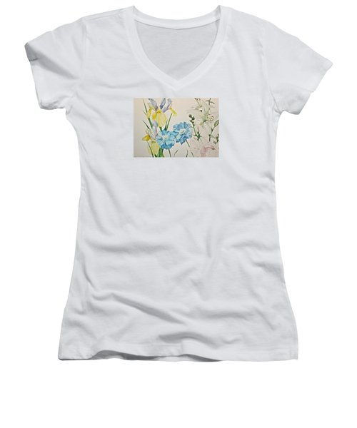 A Variety-posthumously Presented Paintings Of Sachi Spohn  Women's V-Neck (Athletic Fit)