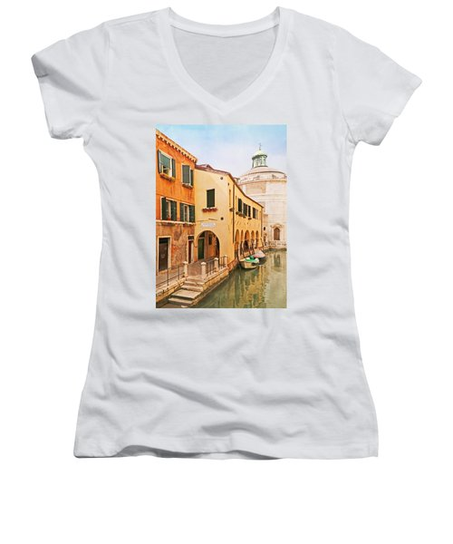 A Venetian View - Sotoportego De Le Colonete - Italy Women's V-Neck T-Shirt (Junior Cut) by Brooke T Ryan