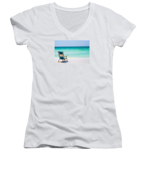 A View Of The Ocean Women's V-Neck T-Shirt (Junior Cut) by Shelby  Young