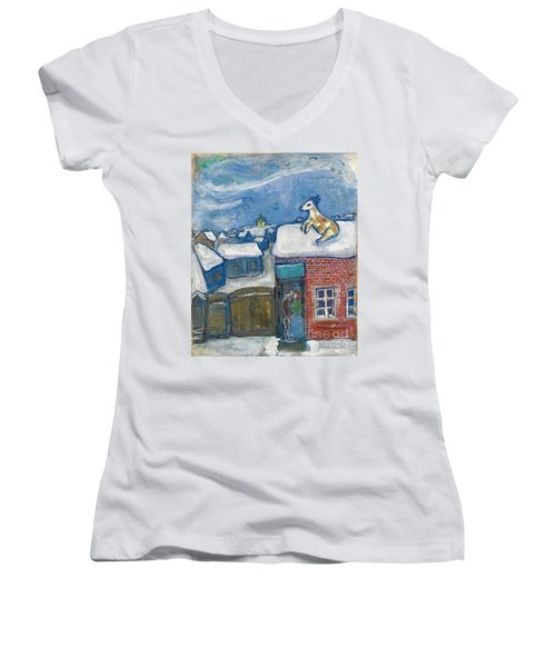 A Village In Winter Women's V-Neck T-Shirt (Junior Cut) by Marc Chagall