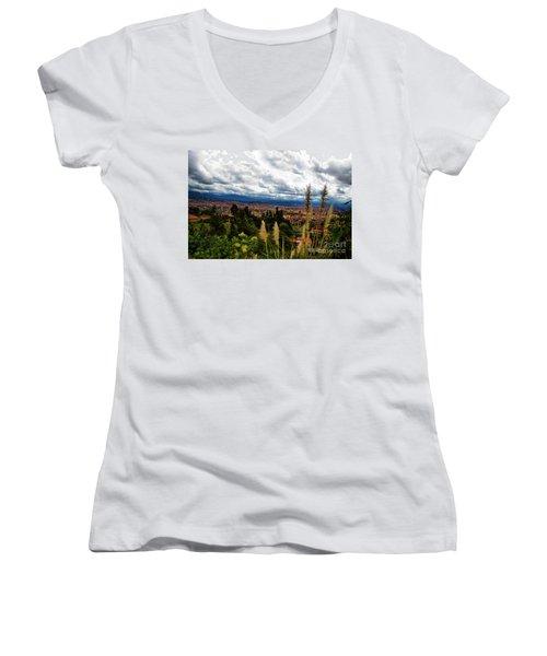 A Vista Of Cuenca From The Autopista Women's V-Neck T-Shirt (Junior Cut) by Al Bourassa